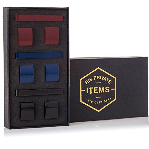 Cufflinks and Tie Clip Set – 3 Couples – Gift Box (Vinous Black Blue)