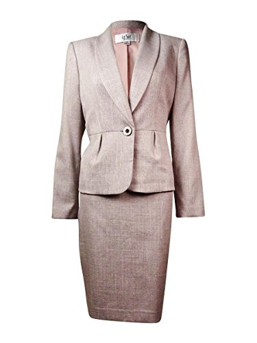 Shawl Collar Sheath (Le Suit Women's 1 Button Shawl Collar Suit Jacket and Skirt Set, Pink/Multi, 8)