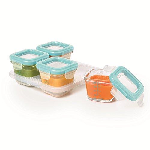 OXO Tot Glass Baby Blocks Freezer Storage Containers - 4 oz, Aqua