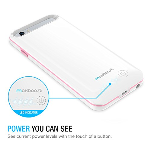 iPhone 6/iPhone 6S Battery Case, Maxboost [VIVID Power] Ultra Slim 3100mAh Battery for iPhone 6/6s (4.7 inch) [MFI Certified] Extended Charging iPhone Portable Charger Case - White/Pink by Maxboost (Image #5)