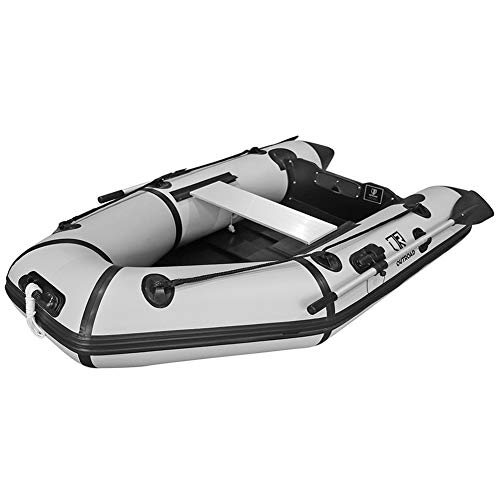 Outroad Inflatable Dinghy Fishing Boat 7.5 FT, Sport Tender Raft Deep Bottom and Trolling Motor Transom, 2 Person Seats w/Two Paddles (Gray)