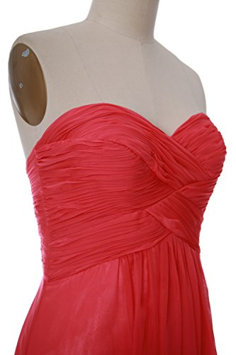 MACloth Women Pleated Chiffon Short Bridesmaid Dress Wedding Party Gown Blush Pink