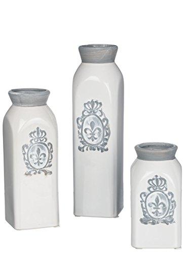 "Sullivans Fleur De Lis Gray & White Decorative Bottles or Vases Set of 3 Sizes 5-9.5"""