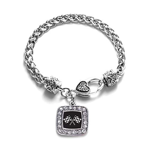 - Inspired Silver - Racing Flags Braided Bracelet for Women - Silver Square Charm Bracelet with Cubic Zirconia Jewelry
