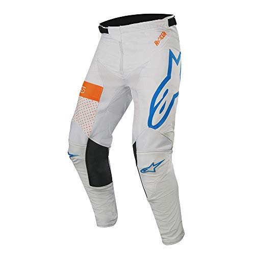 Alpine Stars Racer Tech Atomic Pants MX Pants 32 inch Cool Gray Mid Blue Orange Fluo
