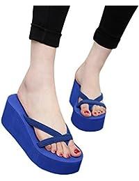 Womens Slippers Thong Wedge Flip Flops Solid Flatform Sandals Outdoor