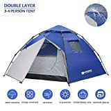 Instant Camping Tent, 3-4 Person Automatic Pop-Up Family Tents Waterproof Portable Backpacking Tent w/Carry Bag for Outdoor Hiking Travel Beach