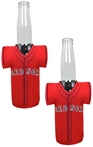 Official Major League Baseball Fan Shop Authentic MLB 2-pack Insulated Bottle Team Jersey Cooler (Boston Red -