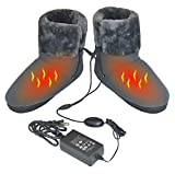 ObboMed MF-2320M Far Infrared Carbon Fiber Heated Foot Warmer/Boots/Slipper, 12V 20W - Far Infrared wavelength 8-15 μm (Health Range: 4-14 μm), Auto Off, Size M: #41 (fits Foot up to 41)
