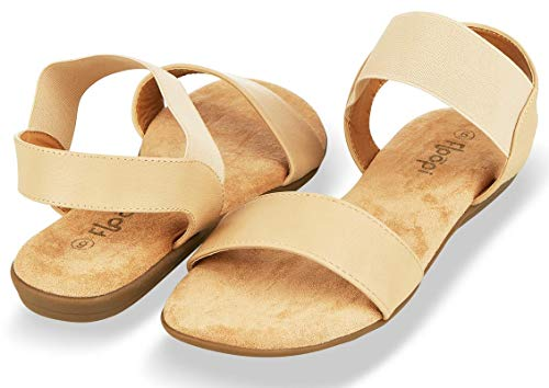 Floopi Sandals for Women | Cute, Open Toe, Wide Elastic Design, Summer Sandals| Comfy, Faux Leather Ankle Straps W/Flat Sole, Memory Foam Insole| (7, Beige-514) ()