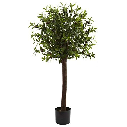 (MARJON FlowersWholesale 4Ft Olive Topiary Silk Tree, [Decor, Silk Flowers])