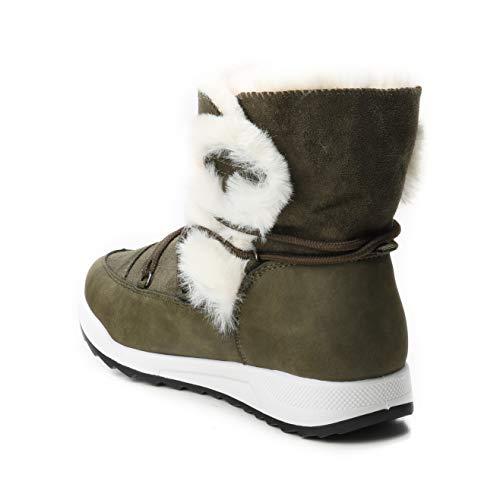 Futter Schnee Stiefel Stiefeletten Damen gefüttert HERIXO Winter Green dick Schuhe Schneestiefel Snowboots Fell Kunstfell Kunst fur White vYvnH