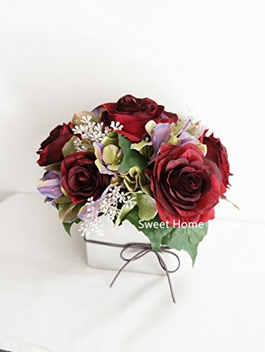 Sweet Home Deco 8'' Silk Mixed Flowers Arrangement Rose Hydrangea in Silver Cube Vase Wedding Home Decoration (Red)