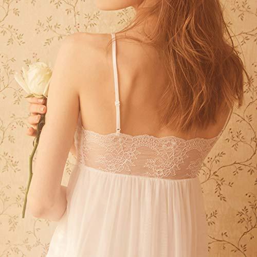 Back V Camisón Pijamas Blanco Sense color Palace Xs Princesa Perspectiva Blanco Cuello En Lace Design Tamaño Zcx De Mujer Correa Vestido Con ZpwqqFgv