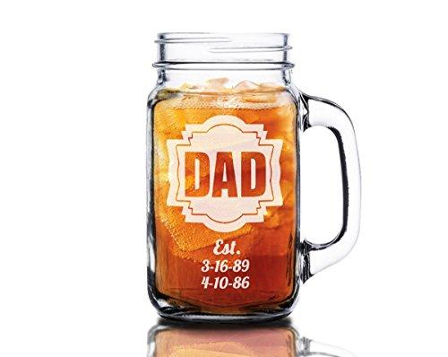 16 Oz Dad Fathers Day Gift Idea Engraved Mason Jar Beer M...