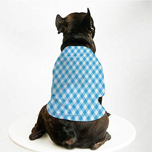 YOLIYANA Checkered Soft Pet Suit,Blue and White Gingham Fabric Texture Image Country Style Plaid Crossed Stripes Decorative for Cats and Dogs,L