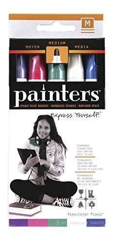Elmer's Painters Opaque Paint Markers, Medium Point, Pearlescent Colors, 5 (Pearlescent Glass)