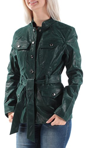GUESS 128 Womens New 1072 Green Belted Button Down Casual Coat S B+B Button Down Leather Coat