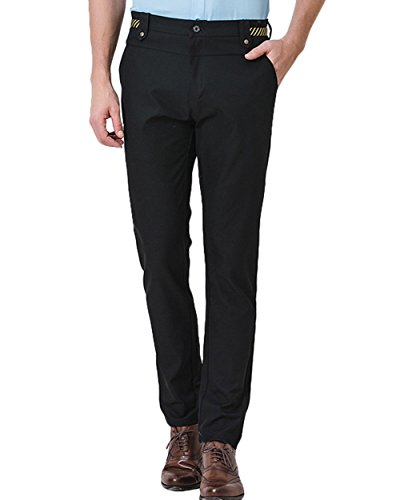 CMDC Men's Regular Fit Flat Front Casual Pants Tapered Stretchy Dress Trousers CG-PT1 (Black (Flat Front Linen Skirt)