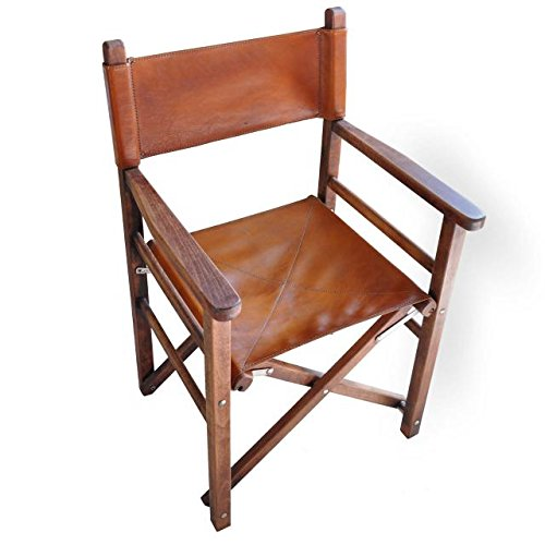 Pratesi Unisex Personalized Custom Initials Embossing Italian Leather Bruce Range Movie Director Chair with Wooden Frame in Brown
