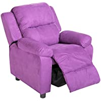 Harper&Bright Designs Kids Recliner with Arms PU Leather Sofa Chair for Child (Purple Fabric)