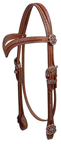 Showman Vスタイル 額革 ヘッドストール ケルトノットコンチョと金具付き 馬具   B07L4ZH7BQ