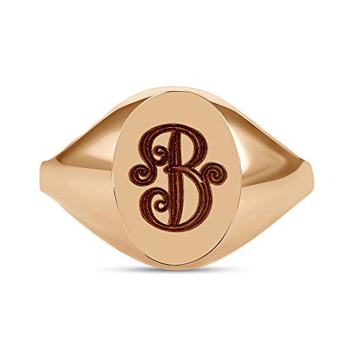 Ring Gold Name 14k Personalized - TousiAttar Signet Ring - 14K or 18 Karat Gold Monogram Initial Yellow White Rose - Pinky Oval Rings for Women & Girls - Free Engraving Personalized Name (14K Rose Gold Size 4.5)