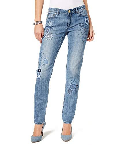 (Michael Kors Embroidered Straight-Leg Jeans Light Indigo Wash 14 )