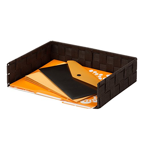 Honey-Can-Do Woven Archivo de Correo y Organizador de computadora, Bandeja para Cartas, Letter Tray, Marrón espreso, 1 uds....