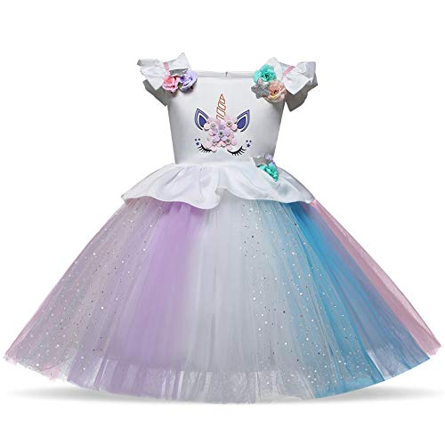 Toddler Flower Girl Unicorn Costume Dress Ruffles Birthday Party Wedding Princess Dress