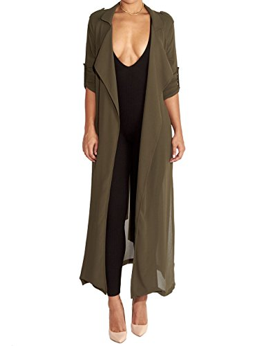 (Begonia.K Women's Long Sleeve Chiffon Lightweight Maxi Sheer Duster Cardigan, Army Green, Large)