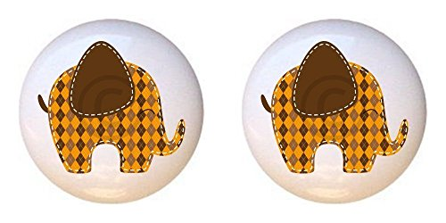 SET OF 2 KNOBS - Elephant Design #003 - Patchwork Animals by PP - DECORATIVE Glossy CERAMIC Cupboard Cabinet PULLS Dresser Drawer KNOBS