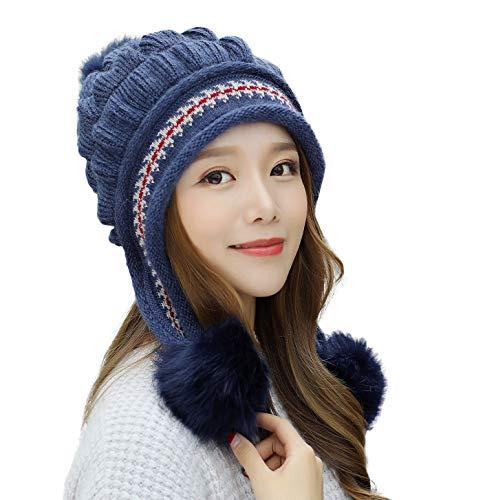 (E.Joy Online Women Peruvian Earflap Beanie Hat Knitted Pom Winter Snow Ski Hat Cold Weather Ladies Navy)