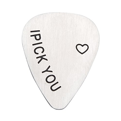 I Pick You Guitar Pick for Men, Christmas Day, Father's Day, Anniversary Day, Valentine Gifts, Musical Gift, Friendship Jewelry, Gift for Him, Dad, Son, Friend, Music, Student, Teacher (Pick You)