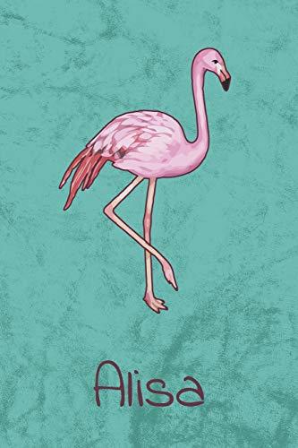 Alisa: Personalisiertes Flamingo Bullet Journal, Tage-/ Notizbuch | 120 Seiten | 6x9 Zoll Format (ca.DIN A5) | gepunket | dotted | punktkariert | dot grid (German Edition) ()