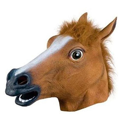 Man Riding Donkey Costume (Halloween Costumes with Rubber Horse Head Mask for Party Mask/ Halloween (Brown))