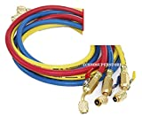 R134a R410A R22 3 color 5ft HVAC AC Charging Hoses 1/4'' Fitting w/ Ball Valves
