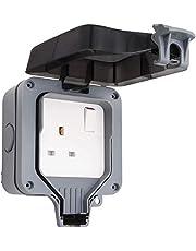 Olefu Outdoor Sockets Waterproof Single Socket, Olefu Wall Electrical Outlets, IP66 Switched Socket Covers,13A Outdoor Wall Weatherproof Plug Socket Box (Single socket)