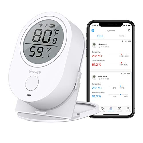 Temperature Humidity Monitor, Govee WiFi Digital Indoor Hygrometer Thermometer, Wireless Temp Humidity Sensor Smart Humidity Guage with Alerts for Home House Garage Wine Cellar and Cigar Humidor (Best App For Room Temperature)