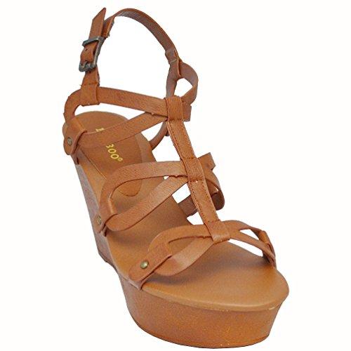 Bamboo Women's Daffy-06 Wedge Sandals, Chestnut