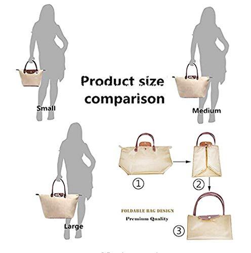 Medium Shoulder Tote Khaki Womens Waterproof Shopping Foldable Travel Black Trip for Handbags Bag Nylon Bag Ladies Beach qwwHZ