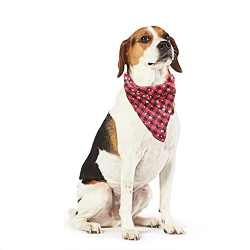 ILDOCK Dog Bandana, Pet snowflakes Polyester cotton Scarfs Triangle Bibs Reversible Plaid Printing Kerchief Set Accessories for Small to Large Dogs Cats ()