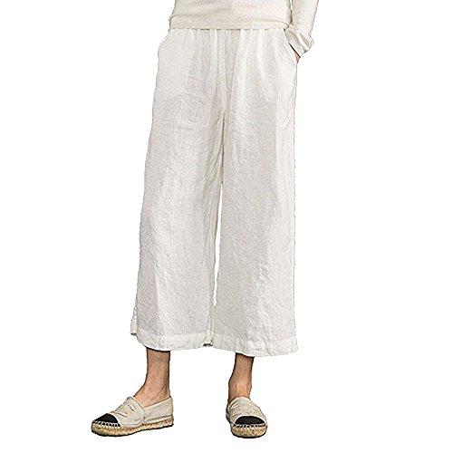 MOCOTONO Women's Plus Size Elastic Waist Wide Leg Linen Cropped Pants White (Easy Linen Cropped Pants)