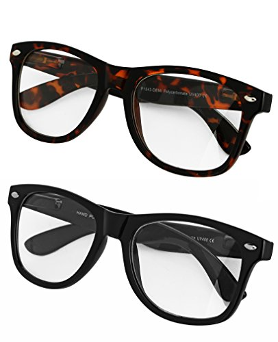 SunnyPro 2 Pack Nerd Geek Sunglasses Wayfarer Retro UV 400 Protection Black Brown (Sunnies Retro)