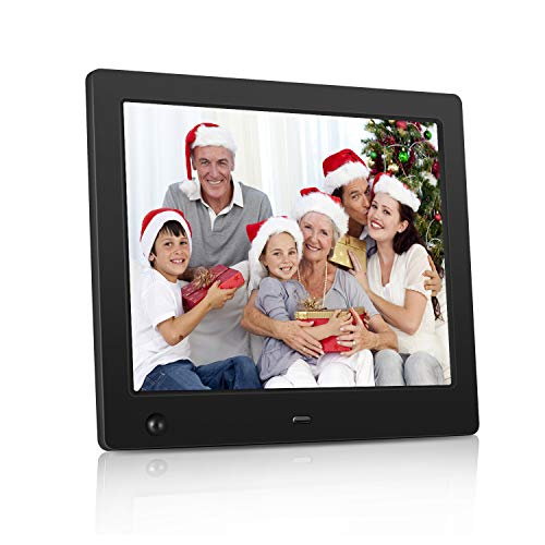 NASICOUR Digital Picture Frame 8 Inch Motion Sensor Multifunction Electronic Photo Frame High Resolution 1024×768 Slideshow Remote Control IPS LCD /1080P Video Player/Stereo/MP3/Calendar/Clock