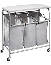 Amazon Basics 3-Bag Laundry Sorter with Ironing Board Top, Grey