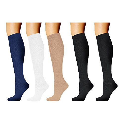 - 5 Pairs Graduated Compression Socks for Women & Men, Running Socks, Knee High Compression Sport Socks for Basketball Athletic Nurse Medical Edema Travel Pregnancy 20-30 mmHg