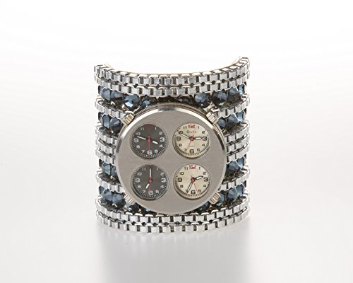 Silver Timepiece - Modern & Funky Genuine Timepiece Adorned Silver Bracelet Cuff!