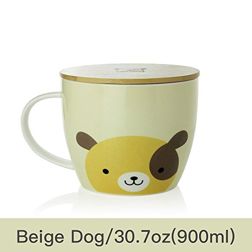 UPSTYLE Cute Coffee Mug Cartoon Ceramic Soup Bowl Animal Pattern Tea Cup Travel Mug with Bamboo Lid and Handle for Instant Noodle Vegetables Fruit,Big Capacity (30.7oz/900ml Dog)