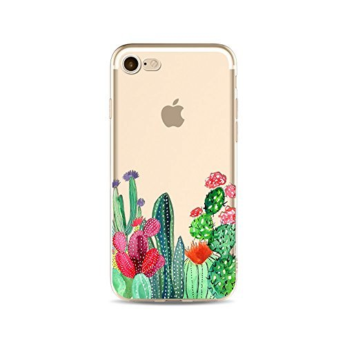 "iPhone 6S Case, Protective Transparent Clear TPU Case for 4.7"" Apple iPhone 6/iPhone 6S with Design in Slim Silicone Soft Gel Back Skin Shock Proof Cover Art Pattern Summer Succulents Cactus"